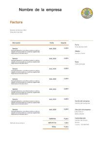 ejemplo de factura de servicios simplificada en formato Word