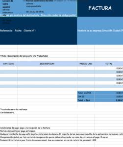 Plantilla factura en formato excel a desgardar de un modo gratuito
